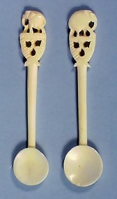 Pair Carved Bone Elephant Handle Salt Spoons