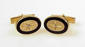 Vintage Larter 14K Gold, Onyx & Diamond Cufflinks