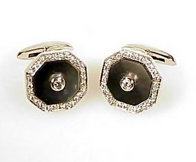18K White Gold Black Mother of Pearl Diamond Cufflinks