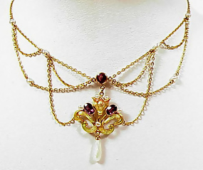 Art Nouveau 14K Enamel Amethyst Pearl Festoon Necklace