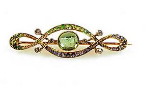 Belle Epoque 18K Gold Demantoid Peridot Sapphire Brooch