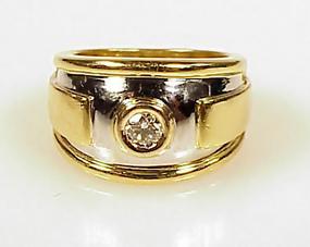 1989 Cartier 18K Bi-Color Gold & .35-Carat Diamond Ring
