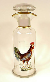 Signed Hawkes Engraved & Enameled Glass Cocktail Shaker