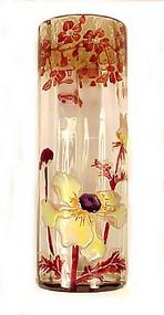 Art Nouveau Mont Joye / Legras Enameled Glass Vase