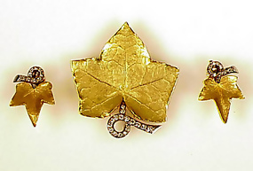 1940s Cartier 18K Palladium Diamond Leaf Pin & Earrings