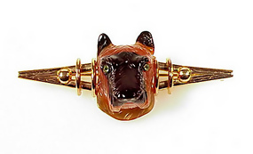 Russian 14K Demantoid Agate Scottish Terrier Brooch