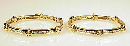 Pair Chanel 18K Gold Diamond COMETES Bangle Bracelets