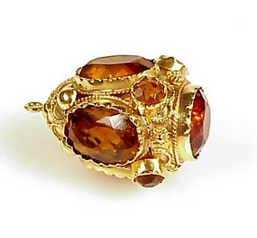 Venetian Etruscan 18K Gold & Citrine Fob Charm