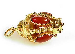 Venetian Etruscan 18K Gold & Carnelian Fob Charm