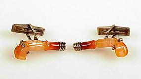 Vintage Sterling Silver Banded Agate Pistol Cufflinks