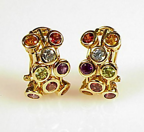 Signed Sonia B 14K Gold Multi-Gem Earrings