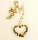 Tiffany Elsa Peretti 18K Gold OPEN HEART Pendant Chain