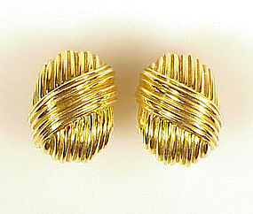 Tiffany & Co. 18K Yellow Gold Earclips