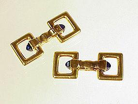 Art Deco Cartier 18K Sapphire Flip-Up Stirrup Cufflinks