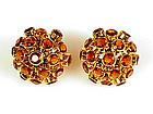 Pair 14K Yellow Gold & Citrine Sputnik Earrings