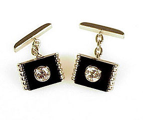 Art Deco Platinum Diamond & Black Onyx Cufflinks