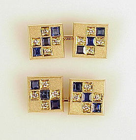 Art Deco 14K Gold Diamond Sapphire Cufflinks