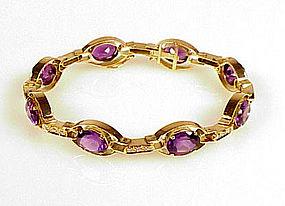 Retro 14K Yellow Gold Amethyst & Diamond Bracelet