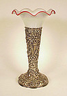 Frederick Bucher Sterling Silver Repousse Trumpet Vase
