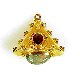18K Garnet Aventurine Quartz Etruscan Revival Fob Charm