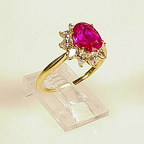Tiffany & Co. 18K Yellow Gold Burmese Ruby Diamond Ring