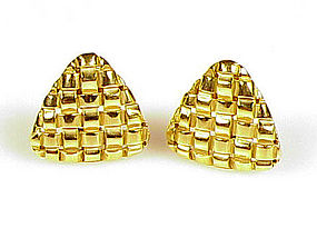 Signed Gucci 18K Yellow Gold Basketweave Earrings