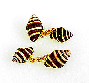 De Grisogono 18K Yellow Gold & Seashell Cufflinks
