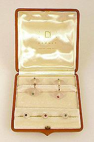 Demner 14K Gold Sapphire Ruby Emerald Crystal Dress Set
