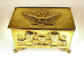Imperial Russian & English Embossed Brass Humidor