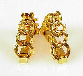 Vintage French 18K Gold Chain Link Stirrup Cufflinks