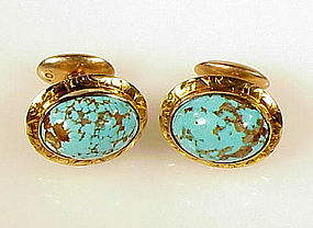 Victorian 10K Yellow Gold & Turquoise Cufflinks