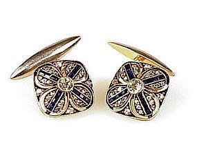 18K Gold Silver & Platinum Diamond & Sapphire Cufflinks