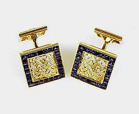French 18K Yellow & White Gold & Sapphire Cufflinks
