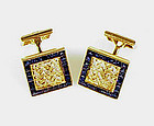 French 18K Yellow & White Gold & Sapphire Cufflinks