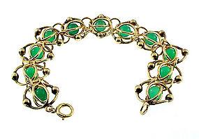 Binder Bros. Gold Filled & Chalcedony Glass Bracelet