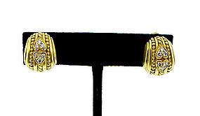 Judith Ripka 18K Yellow Gold & Diamond Cushion Earrings