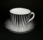 SET OF SIX ZEBRA COFFEE CUPS AND SAUCERS