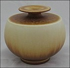 CREAM AND BROWN FRIBERG VESSEL