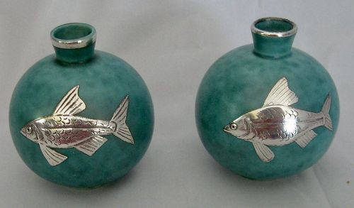 PAIR OF ARGENTA MINIATURE VASES FOR GUSTAVSBERG