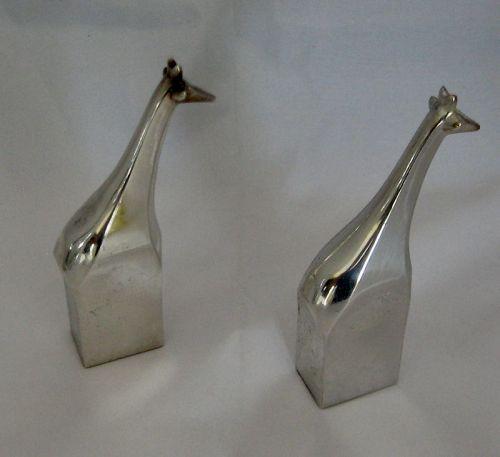 Pair of Vintage 1970s DANSK Gunnar Cyren Silver Plated Giraffes