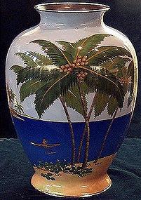unique Japanese Ando cloisonne enamel vase