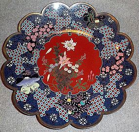 Nice Japanese cloisonne enamel   plate Ando