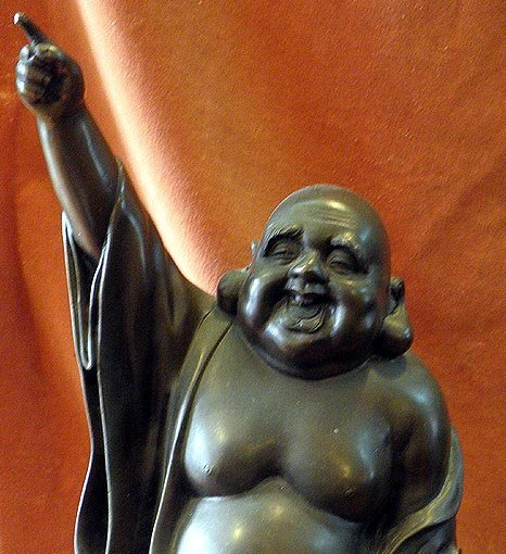Japanese bronze happy buddha  with karako boy