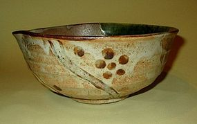 Nice Japanese studio mengei forl art  Oribe bowl