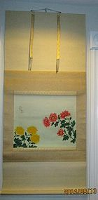 Japanese hanging scroll painting flower