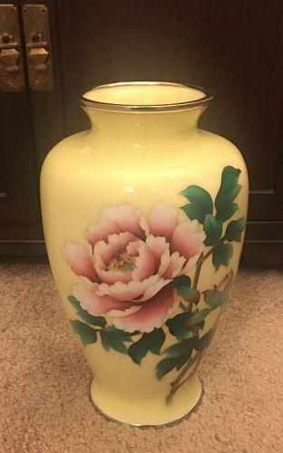 Japanese Ando cloisonné enamel vase with box