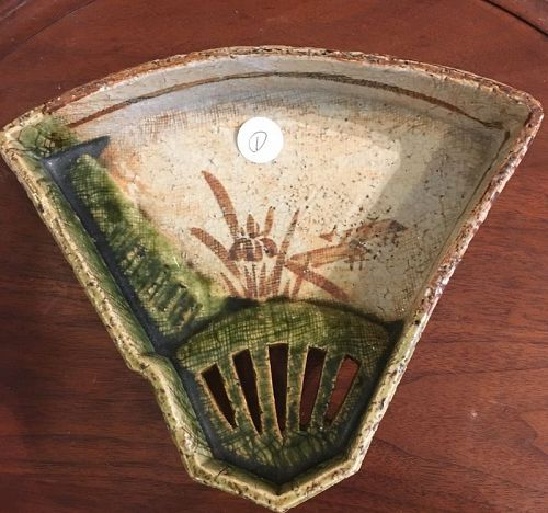 Antique Japanese Oribe fan shape plate set 5