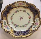 Beautiful French hand painted Royal blue Serves plate