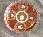 Japanese Red Kutani plate with Mon family mark