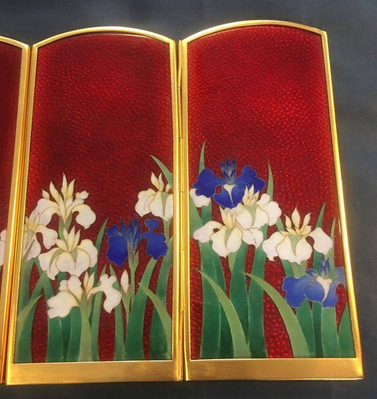 Lovely flower Japanese cloisonné enamel screen
